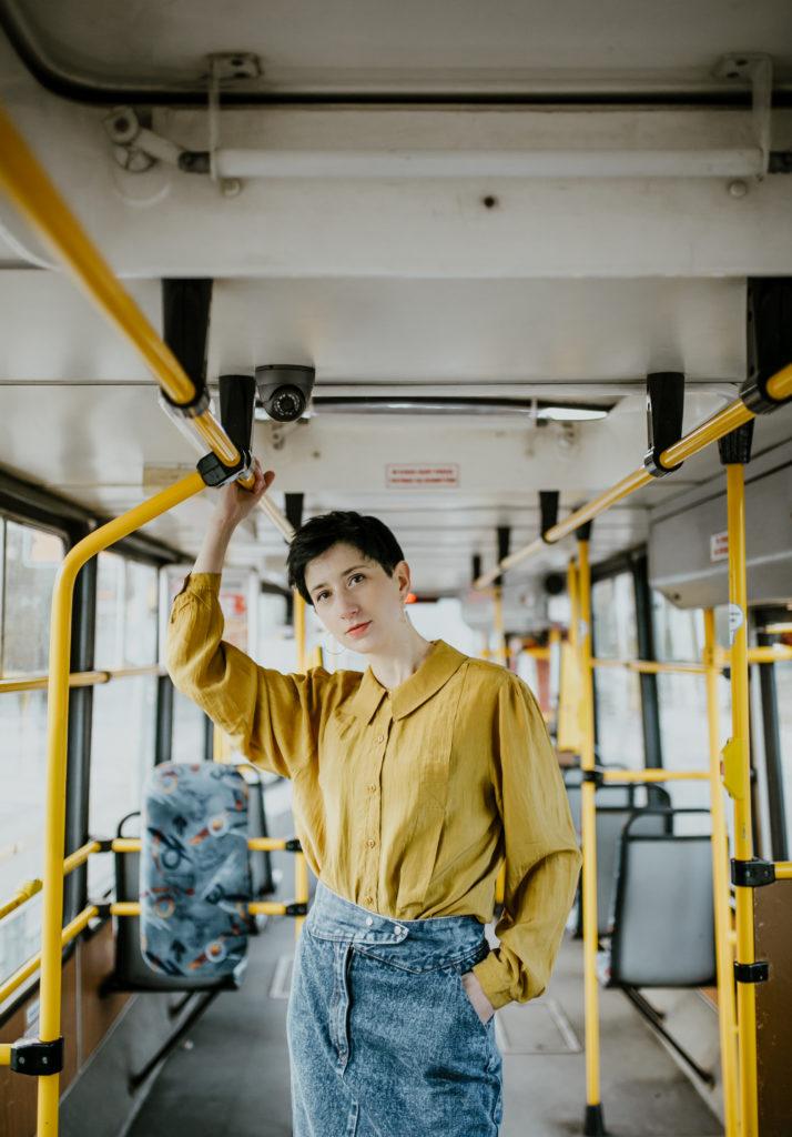 sesja fotofraficzna w tramwaju